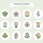 Small 1x spring flowers flat line icons