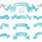Small 1x watercolor ribbon banners