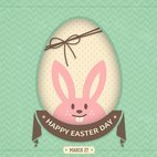 Small 1x happy easter bunny card