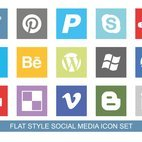 Flat Style Social Media Icon Set