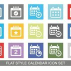 Colorful Flat Style Calendar Icon Set
