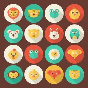 Flat Animal Portrait Icons