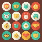 Small 1x flat animal portrait icons
