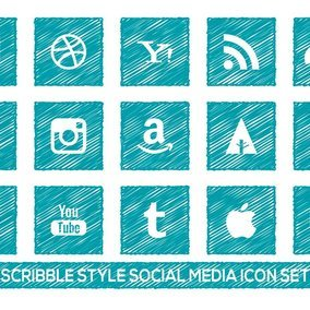 Scribble Style Social Media Icon Set