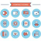 Flat Line Contact Icons