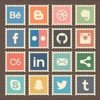 Small 1x retro social media stamps icons