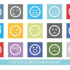 Flat Style Cute Emoticon Icon Set