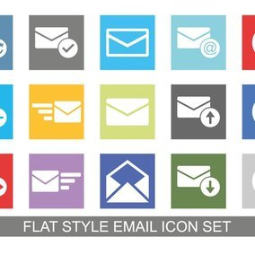Flat Style Email Icon Set
