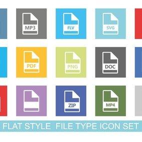 Flat Style File Type Icon Set