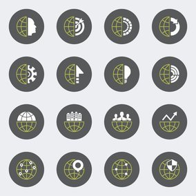 Business Globe Icon Set