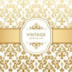 Small 1x golden vintage damask greeting card