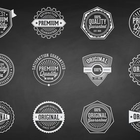 Chalk Retro Premium Quality Badges