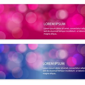 Pink and Blue Abstract Bokeh Banners