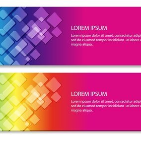Rainbow Square Vector Banners