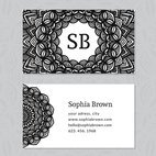 Small 1x hand drawn decorative business card