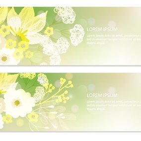 Green Floral Web Banners
