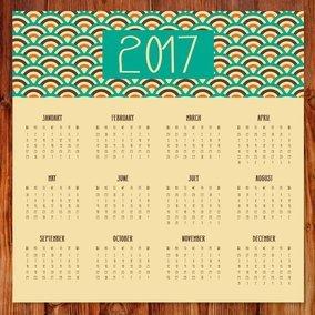 Cute Retro 2017 Calendar