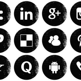 Grunge Style Social Media Icon Collection