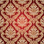 Gold and Red Damask Background