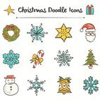 Small 1x christmas doodle icons