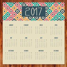 Cute 2017 Retro Calendar