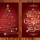 Beautiful Gold and Red Christmas Card