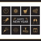 Happy New Year Vector Icons