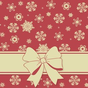 Christmas Snowflake Background with Bow
