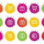 Colorful Splash Style Shopping Icons