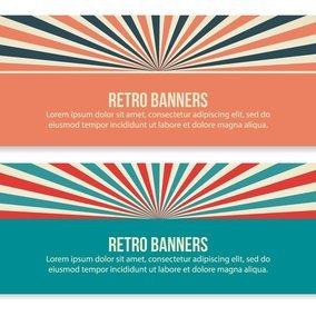 Retro Style Sunburst Banners