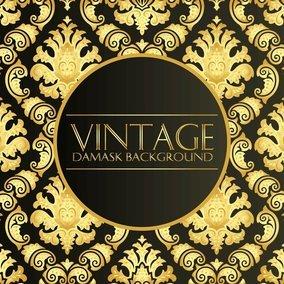 Elegant Black Gold Vintage Damask