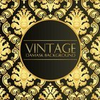 Elegant Black Gold Vintage Damask