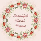 Red Floral Vector Frame Background