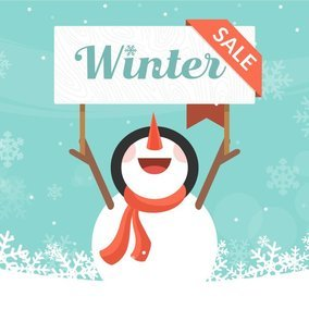 Winter Sale Snowman Illustration