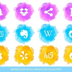 Watercolor Style Social Media Icon Collection
