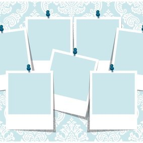 Blue Damask Photo Collage Template