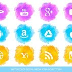 Watercolor Social Media Icon Collection