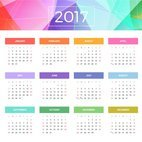 Small 1x colorful calendar 2017 stationary template