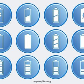 Battery Button Icon Collection
