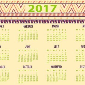 Cute Decorative 2017 Calendar