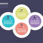 Small 1x linked circles infographic template