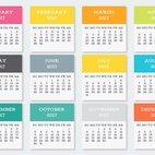 Colorful Pocket Calendar Cards Collection