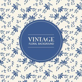 Blue Vintage Floral Background
