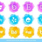 Yellow Blue and Purple Watercolor Social Media Icon Collection