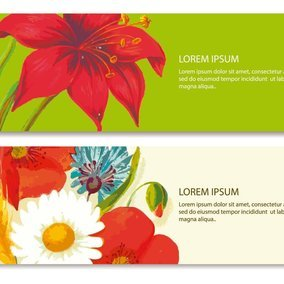 Beautiful Painted Floral Banners