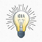 Small 1x hand drawn idea light bulb
