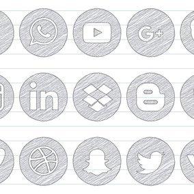 Scribble Social Media Icon Set