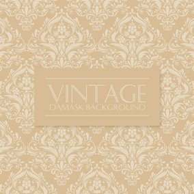 Beige Vintage Damask Background
