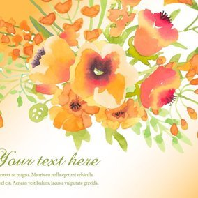 Orange Watercolor Floral Illustration