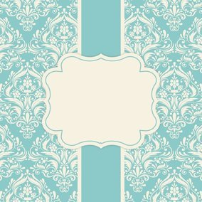 Robin Egg Blue Damask Card Template